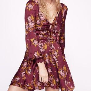 BNWT Free People Purple Floral Dress Long Sleeve